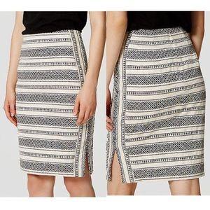 LOFT Petite Mosaic Stripe Pencil Skirt